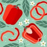Картина болгарского перца безшовная Все и отрезанные красные перцы с листьями и цветками на затрапезной предпосылке бесплатная иллюстрация