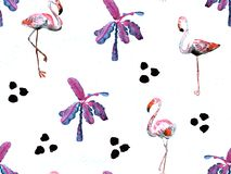 Картина большого фламинго красная гаваиская безшовная бесплатная иллюстрация