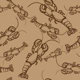 Картина Брайна безшовная с омарами Стоковое фото RF