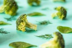Картина брокколи, шпината, фенхеля, вегетарианца, здоровой концепции еды Стоковые Фотографии RF