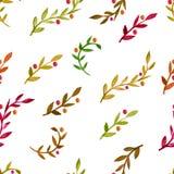 Картина вектора акварели безшовная с красочными листьями осени иллюстрация штока
