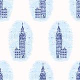 Картина вектора башни с часами Лондона большого Бен виньетки безшовная известно иллюстрация вектора