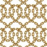 Картина вектора безшовная золотых цепей Стоковые Фотографии RF