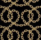 Картина вектора безшовная золотых цепей Иллюстрация вектора