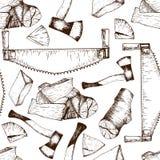 Картина вектора безшовная инструментов деятельности тимберса Пила, ось, firewoods Стиль сделанный эскиз к годом сбора винограда e Стоковые Фотографии RF