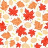 Картина вектора безшовная листьев осени Стоковое Изображение