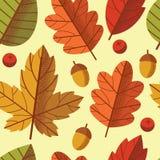 Картина вектора безшовная красочная листьев осени падает вниз Стоковое Изображение