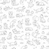 Картина вектора безшовная милого кота стиля мультфильма в различных представлениях иллюстрация штока