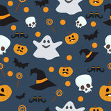 Картина вектора безшовная на хеллоуин Тыква, призрак, летучая мышь, конфета, и другие детали на теме Яркий шарж Стоковая Фотография