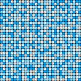 Картина вектора безшовная небольших ровных квадратов Голубая и бежевая мозаика керамической плитки иллюстрация вектора