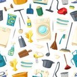 Картина вектора безшовная домашней стирки чистки иллюстрация штока