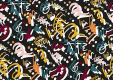 Картина вектора безшовная при нарисованная рукой покрашенная рука ходов и нашивок щетки Черный, золотой, белый, розовый, зеленый, бесплатная иллюстрация