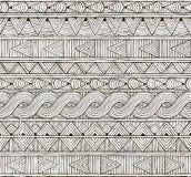 Картина вектора безшовная племенная Нарисованный вручную Стоковое Изображение