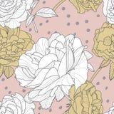 Картина вектора безшовная розовая с цветками нарисованными рукой розовыми Флористическая иллюстрация с белыми и золотыми розами Стоковое Изображение