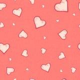 Картина вектора безшовная сердца на предпосылке grunge пастельного пинка Стоковые Изображения