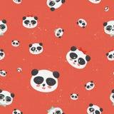 Картина вектора безшовная: стороны медведя панды на предпосылке grunge красной, панде с различными эмоциями Стоковые Фотографии RF