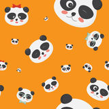 Картина вектора безшовная: стороны на желтой предпосылке, стороны медведя панды панды с различными эмоциями Стоковые Фотографии RF