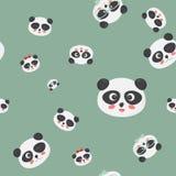 Картина вектора безшовная: стороны на зеленой предпосылке, стороны медведя панды панды с различными эмоциями Стоковые Фото