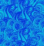 Картина вектора безшовная с абстрактными голубыми волнами Стоковое Изображение RF