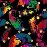 Картина вектора безшовная с абстрактными пер Стоковая Фотография RF