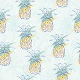 Картина вектора безшовная с ананасами бесплатная иллюстрация