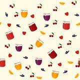 Картина вектора безшовная с апельсином, голубикой Стоковые Изображения RF