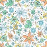 Картина вектора безшовная с винтажной doodle нарисованным рукой цветет Стоковые Фотографии RF