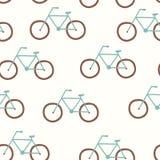 Картина вектора безшовная с винтажным велосипедом иллюстрация штока