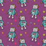 Картина вектора безшовная с винтажным роботом игрушки Стоковые Изображения