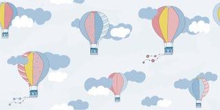 Картина вектора безшовная с воздушными шарами и облаками Картина ` s детей Печать текстильной ткани вектора иллюстрация штока