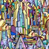 Картина вектора безшовная с выдуманным готическим городом стоковое фото