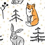 Картина вектора безшовная с диким животным леса иллюстрация вектора