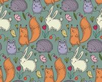 Картина вектора безшовная с животными леса руки вычерченными дикими, бесплатная иллюстрация