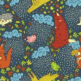 Картина вектора безшовная с животными пущи бесплатная иллюстрация
