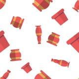 Картина вектора безшовная с заводами в смешных баках Предпосылка с прелестными объектами бесплатная иллюстрация