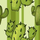 Картина вектора безшовная с кактусами Ультрамодный тропический дизайн для ткани младенца иллюстрация штока