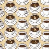 Картина вектора безшовная с кофейными чашками Стоковые Фото