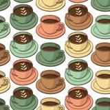 Картина вектора безшовная с кофейными чашками Стоковое Изображение RF