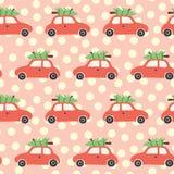 Картина вектора безшовная с красными автомобилем и рождественской елкой на крыше Винтажная предпосылка рождества с ретро автомоби иллюстрация штока