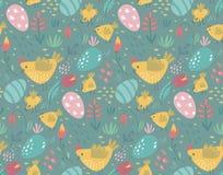 Картина вектора безшовная с кроликами, цыпленком и цветками бесплатная иллюстрация