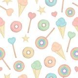 Картина вектора безшовная с леденцом на палочке радуги, сердцами, donuts, звездами, мороженым иллюстрация штока