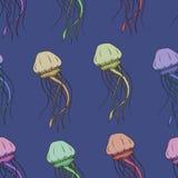 Картина вектора безшовная с медузами Стоковые Фотографии RF