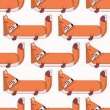 Картина вектора безшовная с милым мультфильмом foxes2 иллюстрация вектора