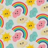 Картина вектора безшовная с милым усмехаясь солнцем, радугой, облаком бесплатная иллюстрация