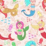 Картина вектора безшовная с милыми красочными русалками иллюстрация штока