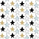 Картина вектора безшовная с морскими звездами Скандинавские поводы Печать младенца Стоковое фото RF