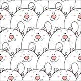 Картина вектора безшовная с нарисованными вручную смешными милыми жирными животными Силуэты животных на белой предпосылке Текстур иллюстрация вектора