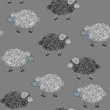 Картина вектора безшовная с овцами Стоковая Фотография RF