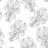 Картина вектора безшовная с омарами Стоковые Изображения