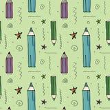 Картина вектора безшовная с различными карандашами бесплатная иллюстрация